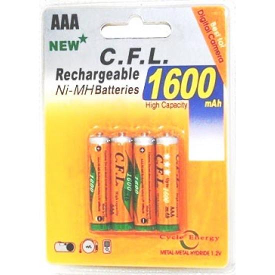 AAA 1600 mAh Reachargeable / Oplaadbaar Batterij
