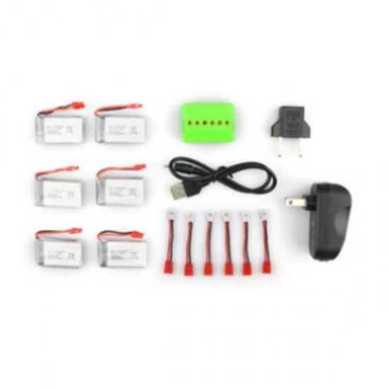 Accu Set Syma X5HW 6 x accu, balance, adapter en kabeltjes