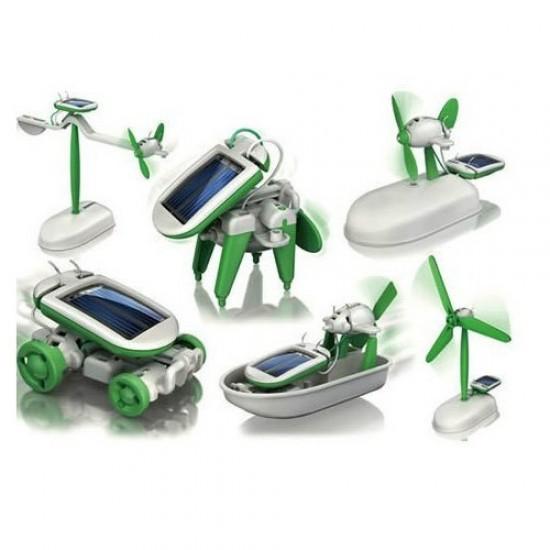 Nieuwe 6 in 1 Educatief Solar Toys Kit Robot Chameleon Groen